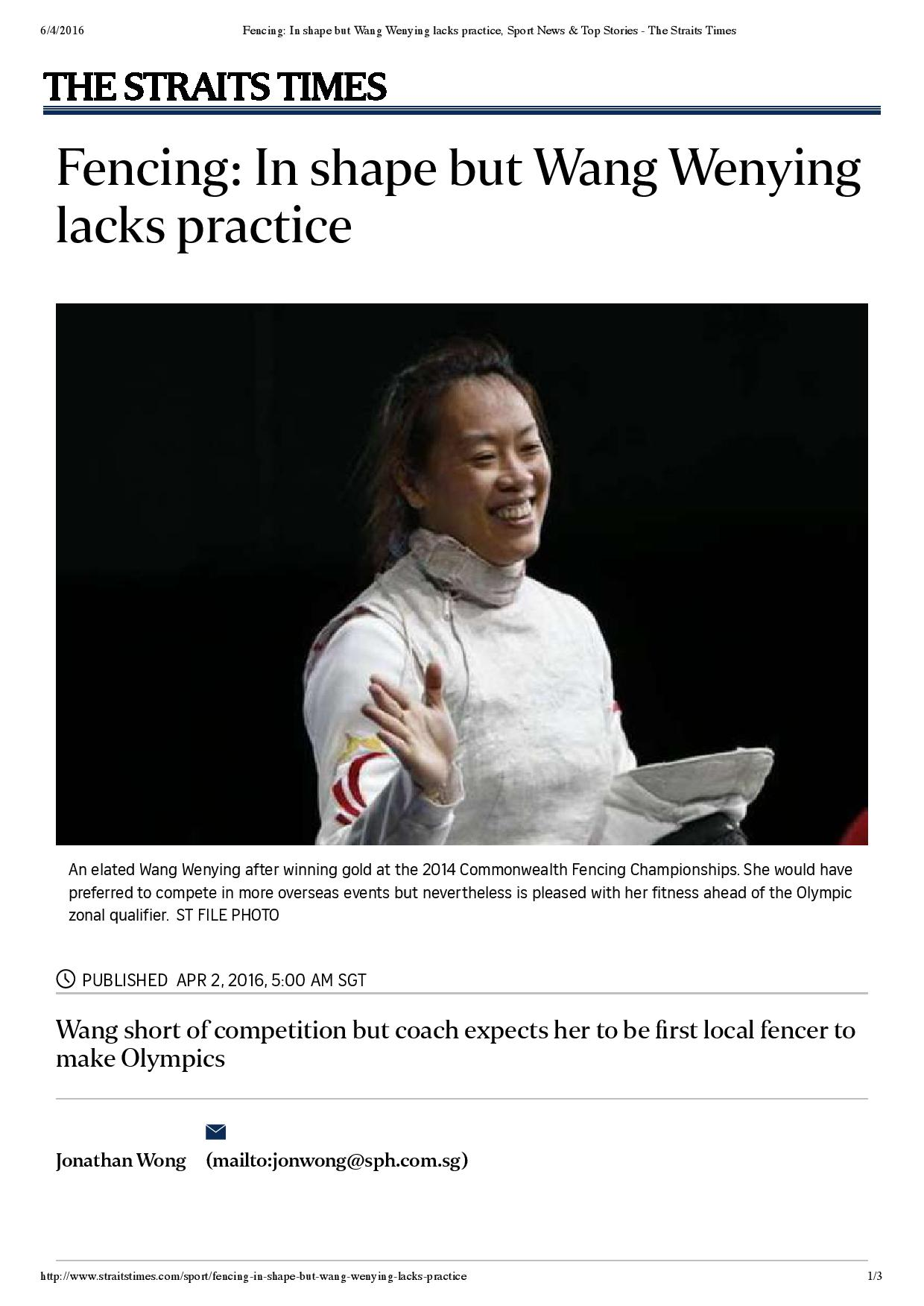 Fencing_ In shape but Wang Wenying lacks practice, Sport News & Top Stories - The Straits Times-page-001
