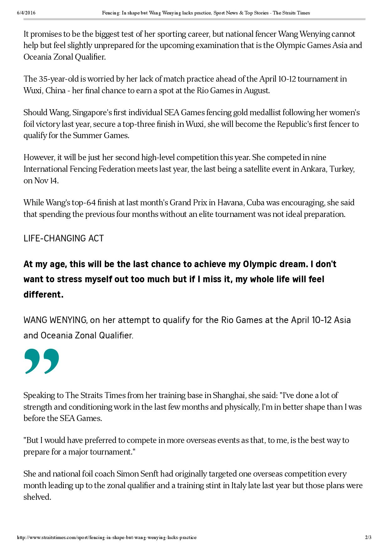Fencing_ In shape but Wang Wenying lacks practice, Sport News & Top Stories - The Straits Times-page-002