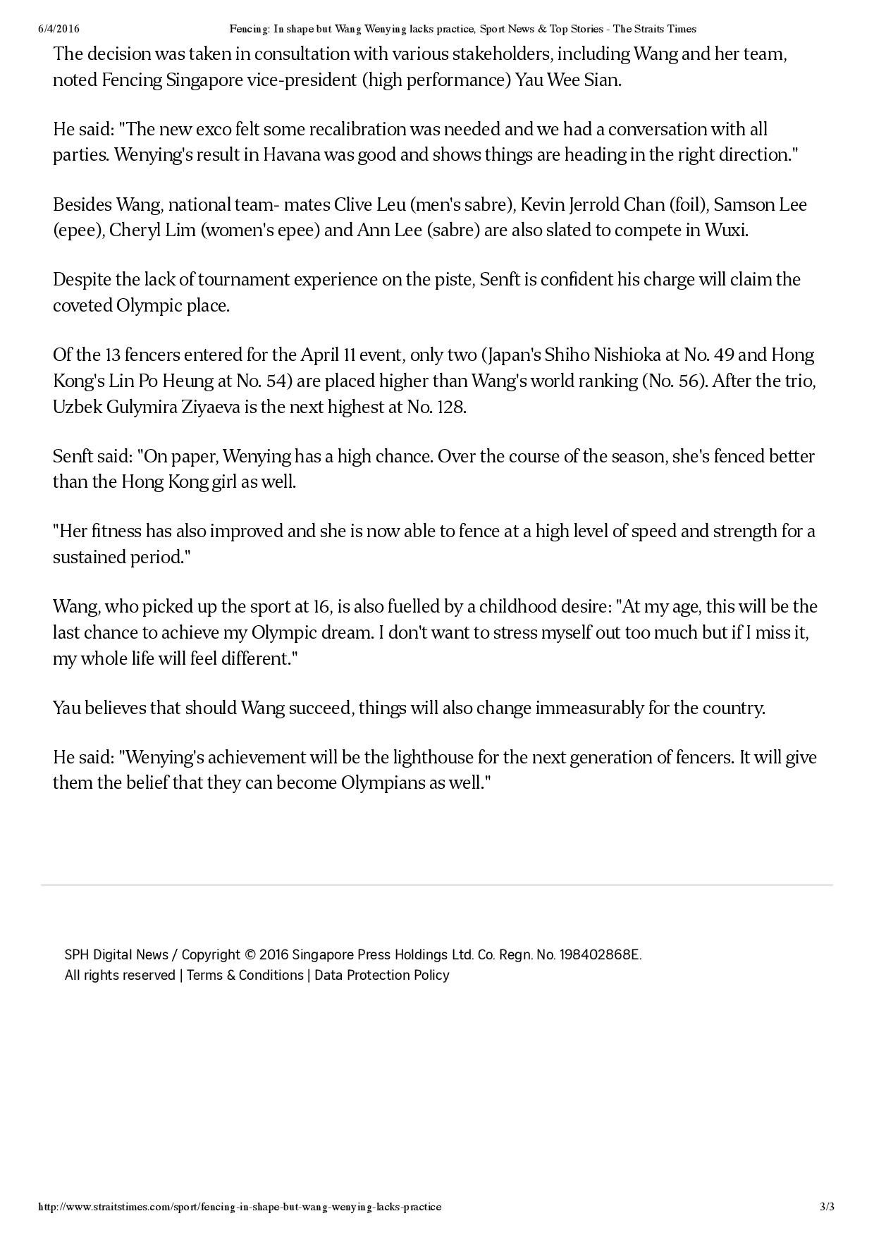 Fencing_ In shape but Wang Wenying lacks practice, Sport News & Top Stories - The Straits Times-page-003